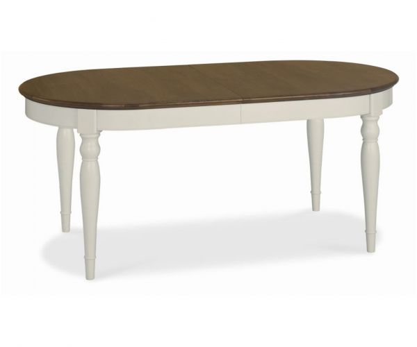 Bentley Designs Hampstead Soft Grey and Walnut 6-8 Extension Dining Table