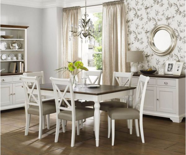 Bentley Designs Hampstead Soft Grey and Walnut 6-8 Rectangular Dining Table with X Back Leather Chairs
