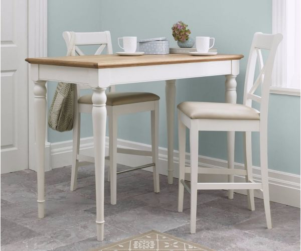 Bentley Designs Hampstead Two Tone Bar Table with X Back Stools