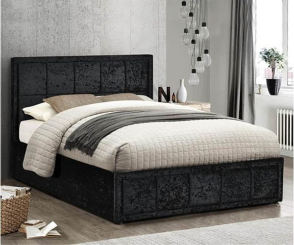 Birlea Furniture Hannover Black Crushed Velvet Ottoman Bed Frame