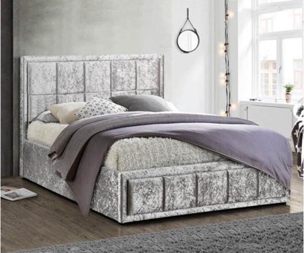 Birlea Furniture Hannover Steel Crushed Velvet Ottoman Bed Frame