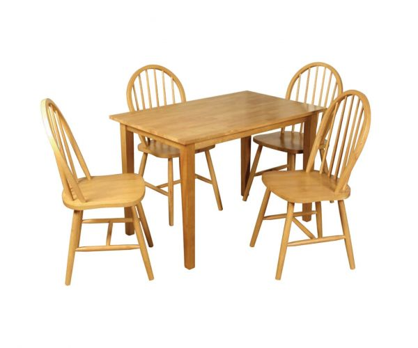 Annaghmore Hanover Light Oak Fixed Top Dining Table with 4 Spindle Back Chairs
