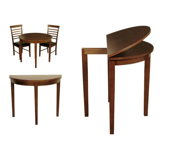 Annaghmore Hanover Dark Half Moon Dining Table with 2 Chairs