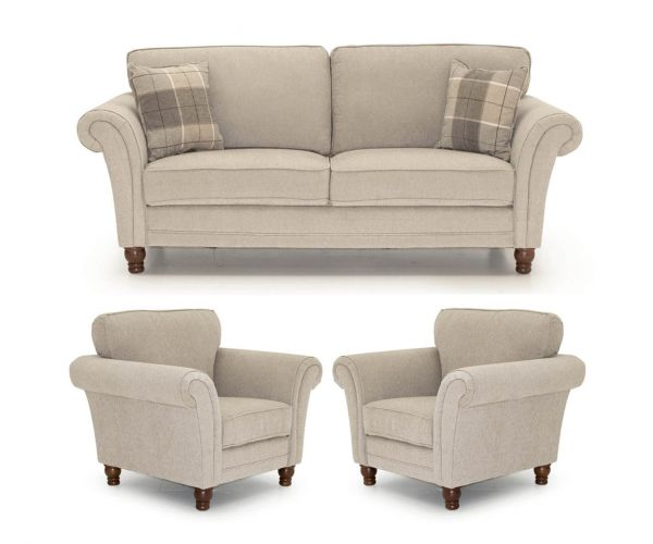 Vida Living Helmsdale Pewter Fabric 3+1+1 Fabric Sofa Set