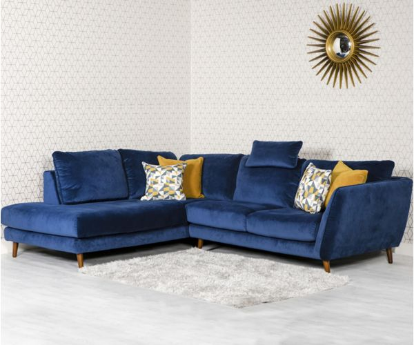 Furniture Line Helsinki Blue Corner Sofa LHF with Head Rest