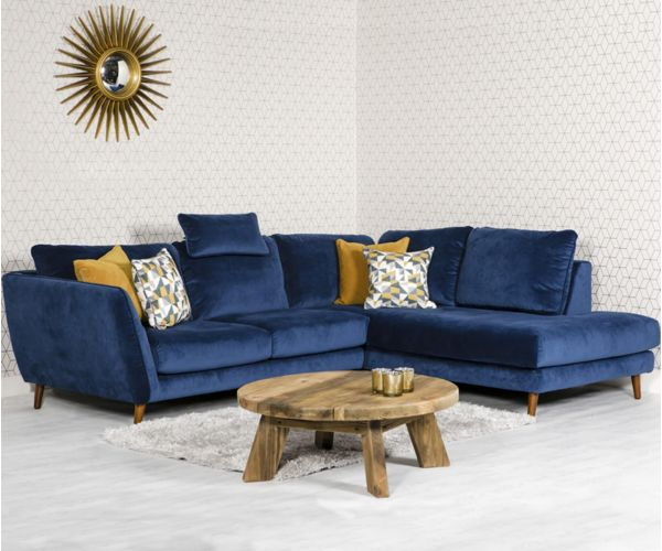 Furniture Line Helsinki Blue Corner Sofa RHF with Head Rest
