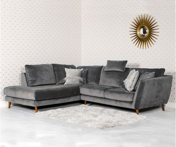 Furniture Line Helsinki Grey Corner Sofa LHF with Head Rest
