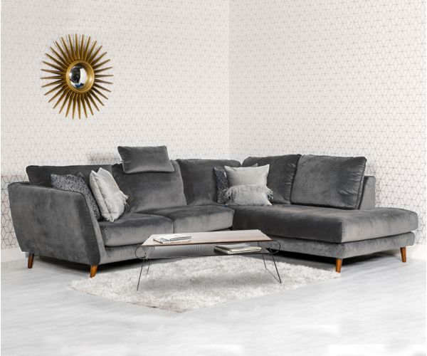 Furniture Line Helsinki Grey Corner Sofa RHF with Head Rest