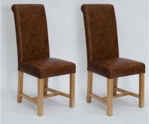 Homestyle GB Henley Expreso Full Leather Dining Chair in Pair