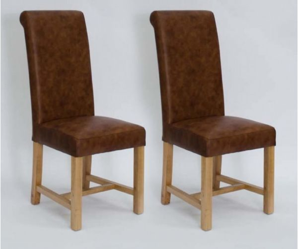 Homestyle GB Henley Mocha Full Leather Dining Chair in Pair