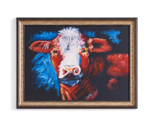 Derrys Furniture Henry at Night Framed Cow Canvas Print