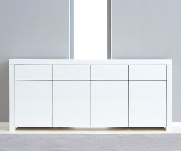 Mark Harris Hereford 4 Door 4 Drawer White High Gloss Sideboard
