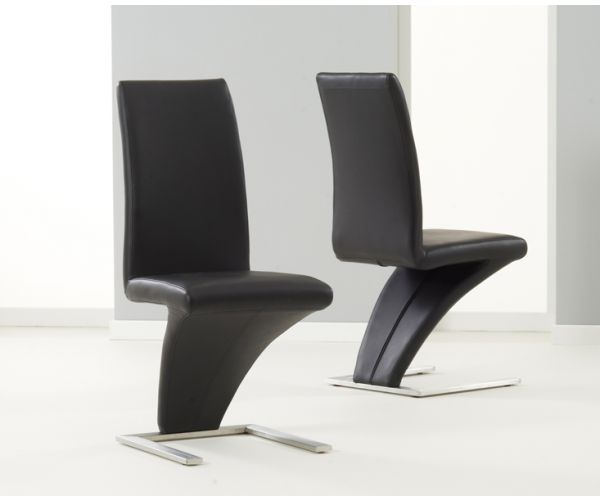Mark Harris Hereford Black PU Leather Dining Chair in Pair
