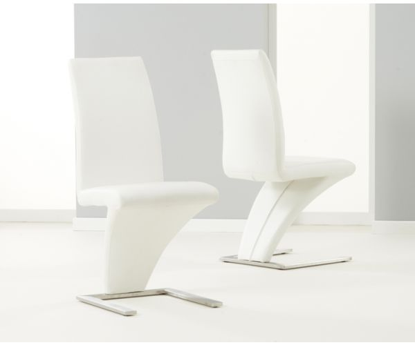 Mark Harris Hereford White PU Leather Dining Chair in Pair
