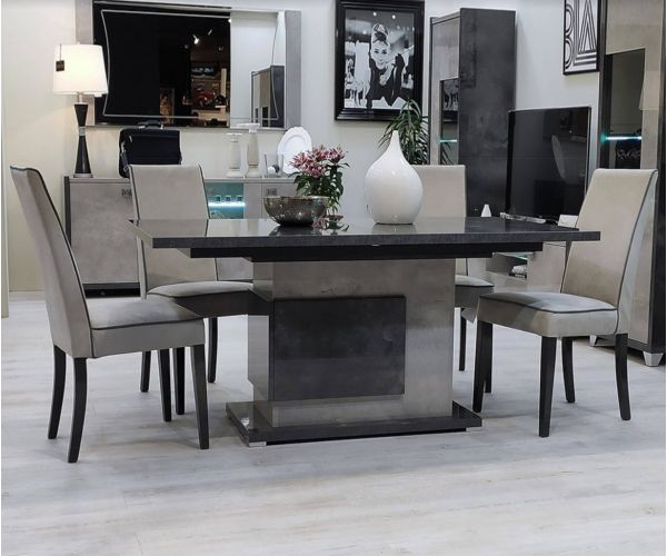 SM Italia Cilton Rectangular Extension Dining Table with 6 Dining Chair
