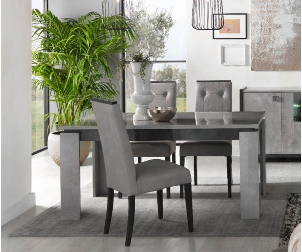 SM Italia Cilton Extension Dining Table with 4 Fabric Dining Chair