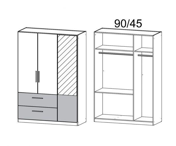 Rauch Alvor Sonoma Oak Carcase with Metallic Grey Front 3 Door 2 Drawer Combi Wardrobe with Mirror (W136cm)