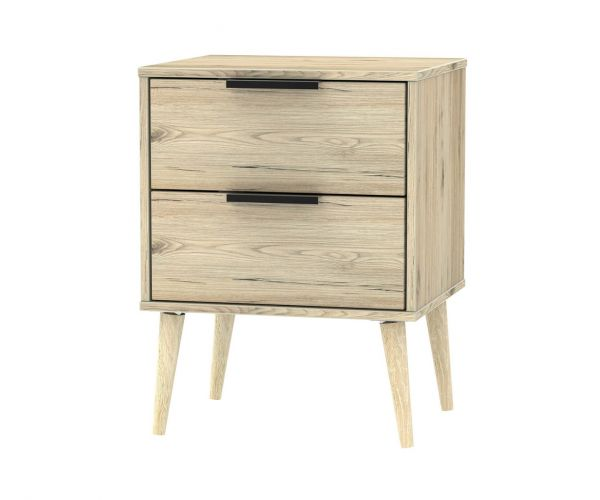 Welcome Furniture Hong Kong Bordeaux Oak 2 Drawer Locker with Natural Solid Wood Legs