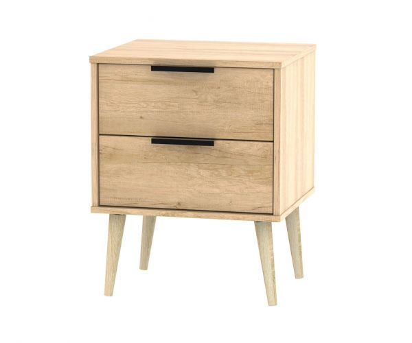 Welcome Furniture Hong Kong Nebraska Oak 2 Drawer Locker with Natural Solid Wood Legs