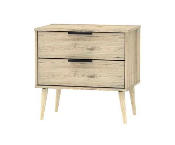 Welcome Furniture Hong Kong Bordeaux Oak 2 Drawer Midi Chest with Natural Solid Wood Legs