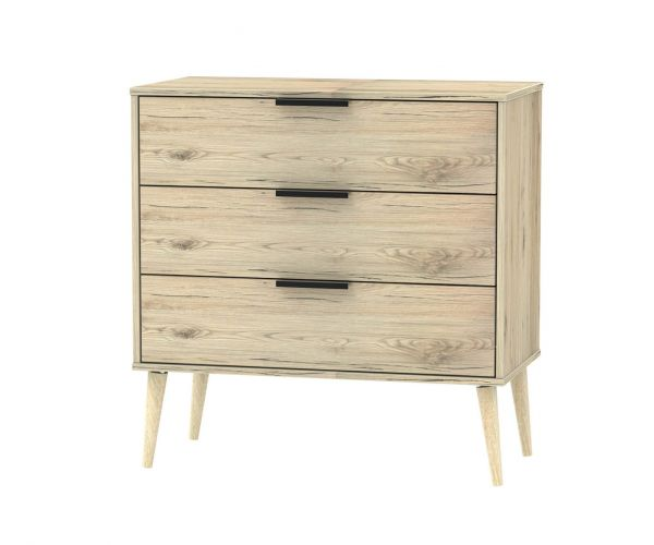 Welcome Furniture Hong Kong Bordeaux Oak 3 Drawer Chest with Natural Solid Wood Legs