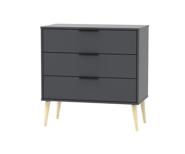 Welcome Furniture Hong Kong Graphite 3 Drawer Chest with Natural Solid Wood Legs