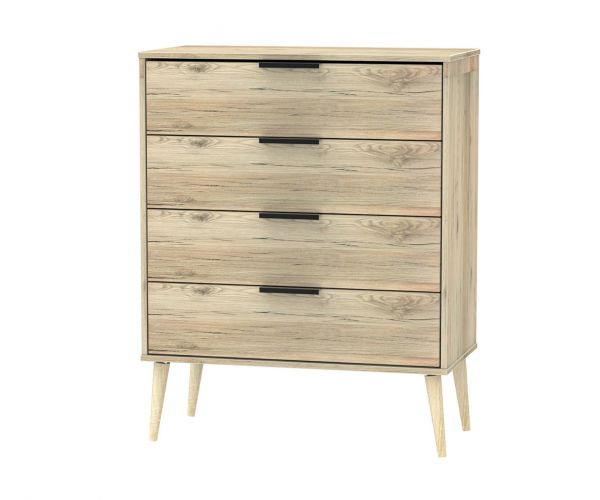 Welcome Furniture Hong Kong Bordeaux Oak 4 Drawer Chest with Natural Solid Wood Legs