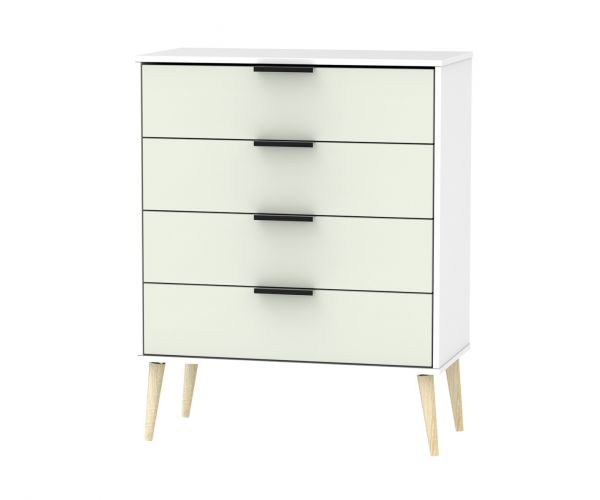 Welcome Furniture Hong Kong Kaschmir Matt 4 Drawer Chest with Natural Solid Wood Legs