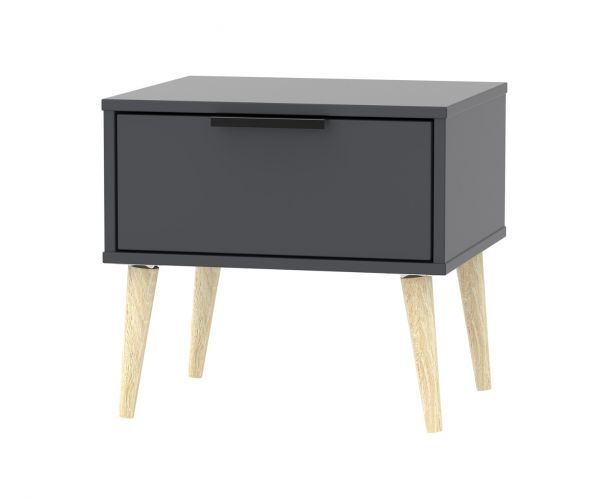 Welcome Furniture Hong Kong Graphite 1 Drawer Locker with Natural Solid Wood Legs