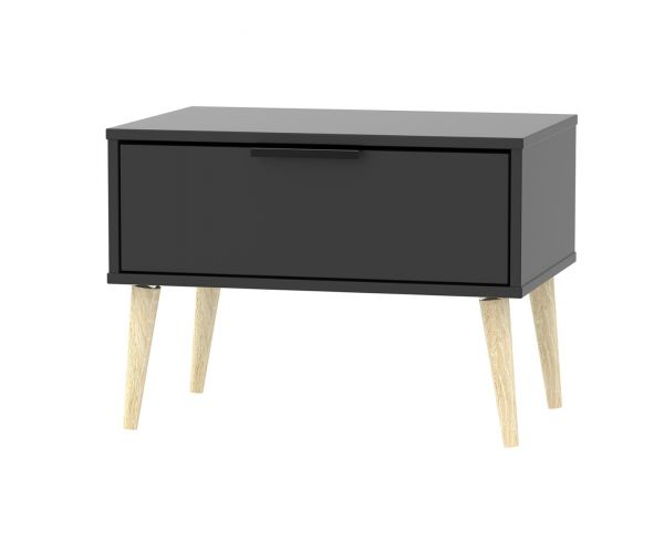 Welcome Furniture Hong Kong Black Matt 1 Drawer Midi Chest with Natural Solid Wood Legs