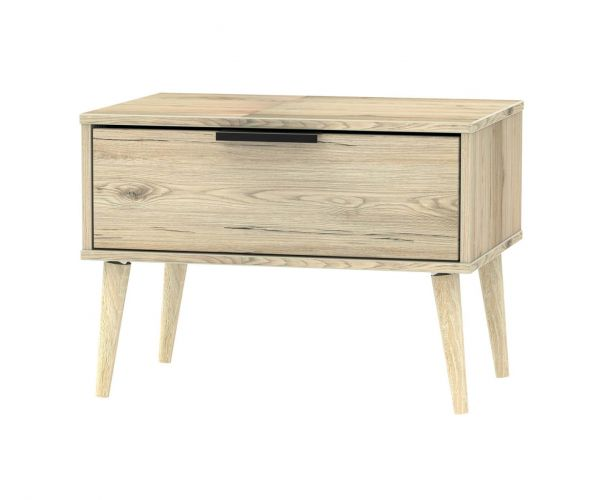 Welcome Furniture Hong Kong Bordeaux Oak 1 Drawer Midi Chest with Natural Solid Wood Legs