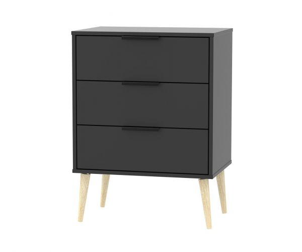 Welcome Furniture Hong Kong Black Matt 3 Drawer Midi Chest with Natural Solid Wood Legs