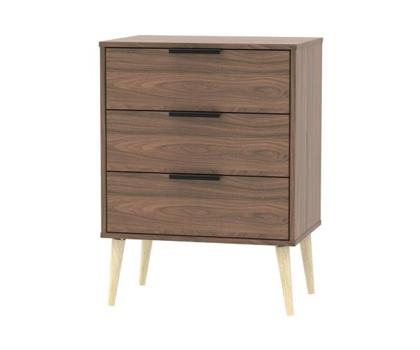 Welcome Furniture Hong Kong Carini Walnut 3 Drawer Midi Chest with Natural Solid Wood Legs