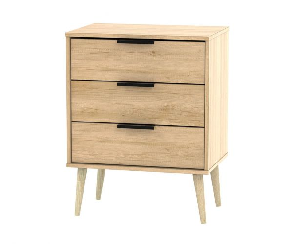 Welcome Furniture Hong Kong Nebraska Oak 3 Drawer Midi Chest with Natural Solid Wood Legs