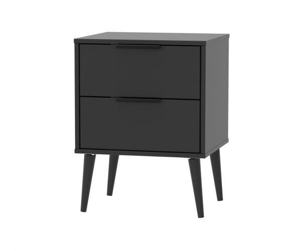 Welcome Furniture Hong Kong Black Matt 2 Drawer Locker with Black Solid Wood Legs