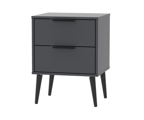 Welcome Furniture Hong Kong Graphite 2 Drawer Locker with Black Solid Wood Legs