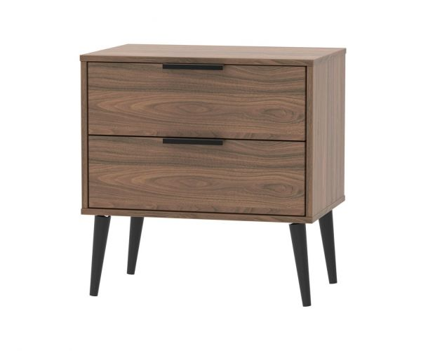 Welcome Furniture Hong Kong Carini Walnut 2 Drawer Midi Chest with Black Solid Wood Legs