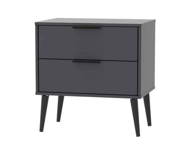 Welcome Furniture Hong Kong Graphite 2 Drawer Midi Chest with Black Solid Wood Legs