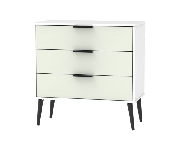 Welcome Furniture Hong Kong Kaschmir Matt 3 Drawer Chest with Black Solid Wood Legs