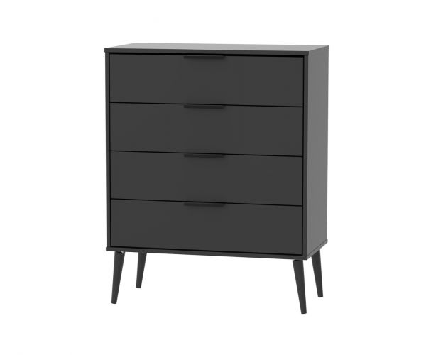 Welcome Furniture Hong Kong Black Matt 4 Drawer Chest with Black Solid Wood Legs