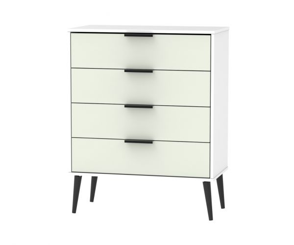 Welcome Furniture Hong Kong Kaschmir Matt 4 Drawer Chest with Black Solid Wood Legs