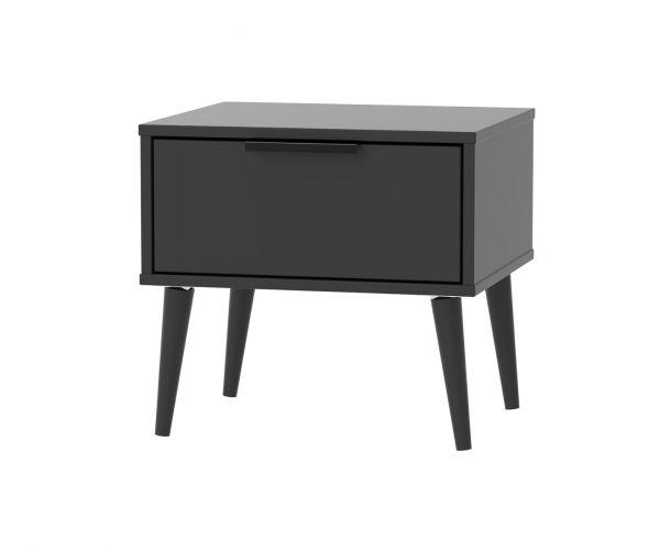 Welcome Furniture Hong Kong Black Matt 1 Drawer Locker with Black Solid Wood Legs