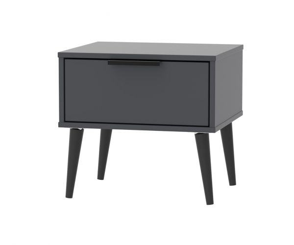 Welcome Furniture Hong Kong Graphite 1 Drawer Locker with Black Solid Wood Legs
