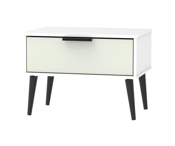 Welcome Furniture Hong Kong Kaschmir Matt 1 Drawer Midi Chest with Black Solid Wood Legs