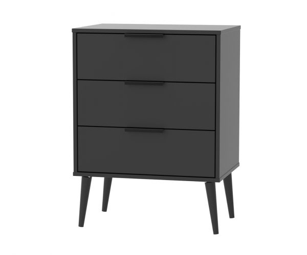Welcome Furniture Hong Kong Black Matt 3 Drawer Midi Chest with Black Solid Wood Legs