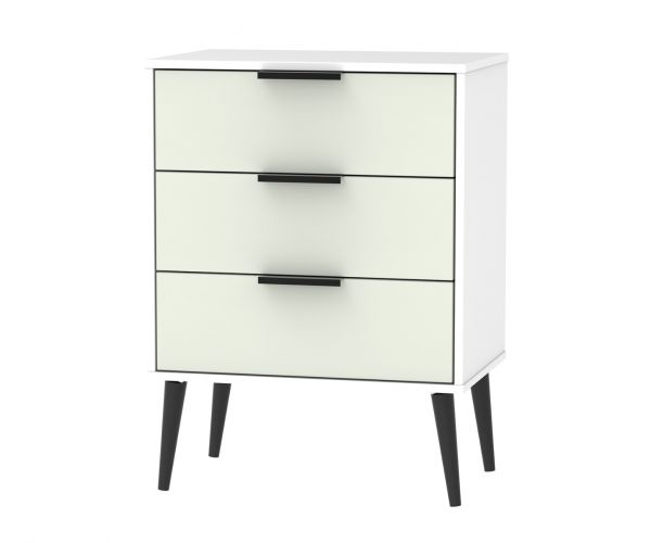 Welcome Furniture Hong Kong Kaschmir Matt 3 Drawer Midi Chest with Black Solid Wood Legs