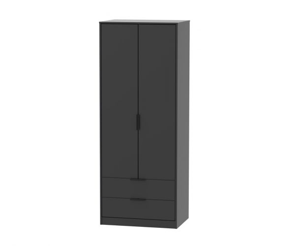 Welcome Furniture Hong Kong Black Matt 2 Door 2 Drawer Combi Wardrobe