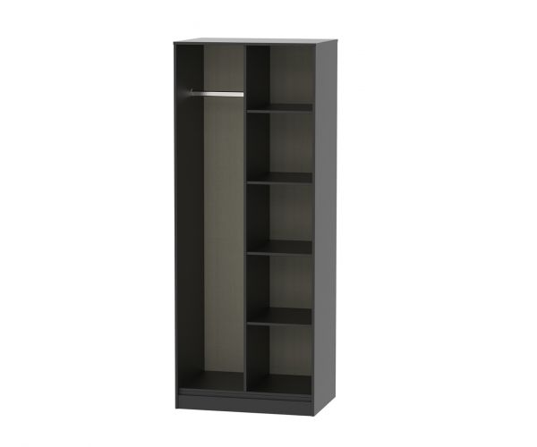 Welcome Furniture Hong Kong Black Matt Open Shelf Wardrobe