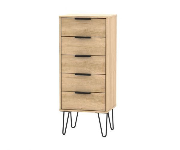Welcome Furniture Hong Kong Nebraska Oak 5 Drawer Locker with Black Hair Pin Style Metal Legs