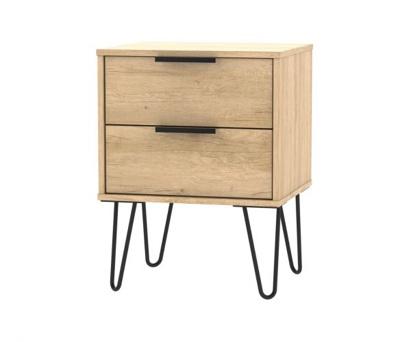 Welcome Furniture Hong Kong Nebraska Oak 2 Drawer Locker with Black Hair Pin Style Metal Legs